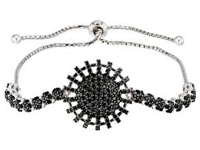 Pre-Owned Black Spinel Rhodium Over Silver Bracelet 1.06ctw