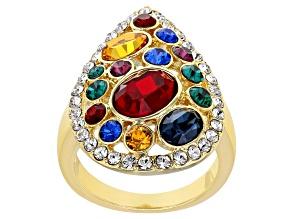 Pre-Owned Swarovski Elements ™ Shiny Gold Tone Teardrop Ring