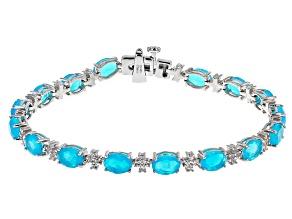 Pre-Owned Paraiba Blue Color Opal Rhodium Over Silver Station Bracelet