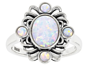 Pre-Owned White Lab Created Opal Rhodium Over Sterling Silver Ring