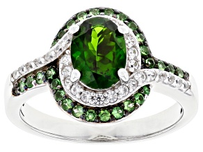 Pre-Owned Chrome Diopside Rhodium Over Sterling Silver Ring 2.00ctw