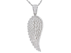 Pre-Owned White Cubic Zirconia Rhodium Over Sterling Silver Angel Wing Pendant With Chain 2.41ctw