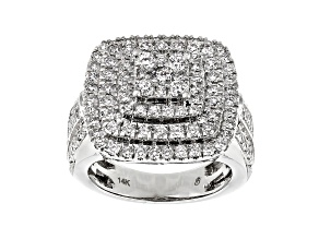 Pre-Owned White Diamond 14K White Gold Cluster Ring 2.00ctw