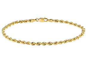 Pre-Owned 14k Yellow Gold Diamond Cut Rope 7 1/2 inch Bracelet