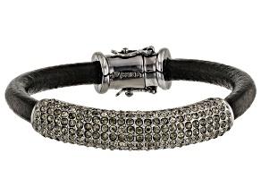 Pre-Owned Gunmetal Tone Black Crystal Leather Bracelet