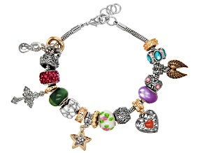 Pre-Owned Gold Tone Multi Color Crystal Sentiments Themed Charm Bracelet