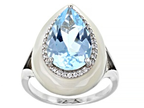 Pre-Owned Sky Blue Topaz Rhodium Over Sterling Silver Ring 5.55ctw