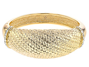 Pre-Owned White Crystal Gold Tone Bangle