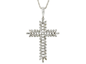 Pre-Owned White Diamond Rhodium Over Sterling Silver Cross Pendant With Chain 0.75ctw