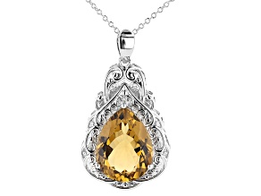 Pre-Owned Yellow Citrine Rhodium Over Brass Pendant With Chain 12.00ctw