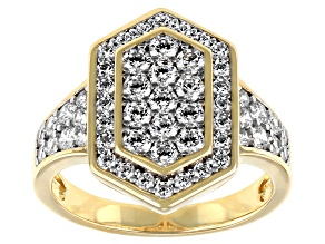 Pre-Owned White Cubic Zirconia 18K Yellow Gold And Rhodium Over Sterling Silver Ring 2.60ctw