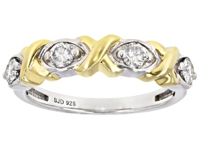 Pre-Owned Moissanite platineve and 14k yellow gold over sterling silver ring .40ctw DEW