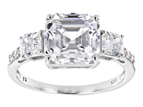 Pre-Owned Asscher Cut White Cubic Zirconia Platinum Over Sterling Silver Ring 8.11ctw (4.72ctw DEW)