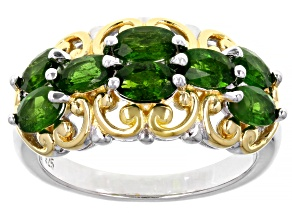 Pre-Owned Green Chrome Diopside Rhodium And 18K Yellow Gold Over Silver Ring. 1.23ctw