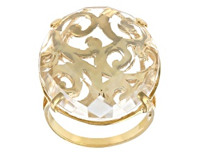 Pre-Owned White Quartz 18K Yellow Gold Over Silver Scroll-work Ring