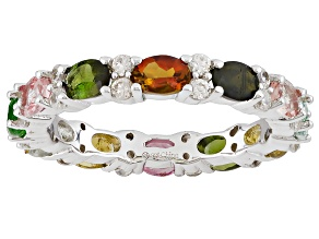 Pre-Owned Multi-Color Tourmaline Rhodium Over Sterling Silver Ring 2.55ctw