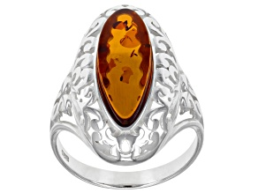 Pre-Owned Orange Amber Sterling Silver Solitare Ring