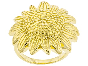 Pre-Owned 18K Yellow Gold Over Sterling Silver Sunflower Ring