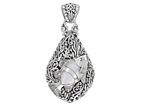 Pre-Owned White Mother-of-Pearl Sterling Silver Fish Pendant