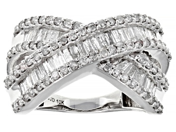 Picture of Pre-Owned White Diamond 10k White Gold Crossover Ring 1.35ctw