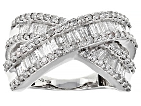 Pre-Owned White Diamond 10k White Gold Crossover Ring 1.35ctw