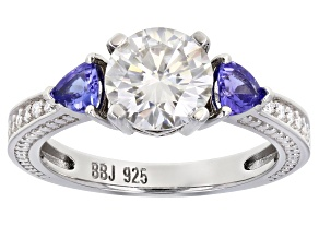 Pre-Owned Moissanite And Tanzanite Platineve Ring 1.62ctw Dew