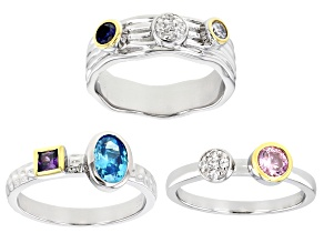 Pre-Owned Multicolor Cubic Zirconia And Blue Lab Created Sapphire Rhodium Over Silver Ring Set of 3