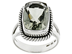 Pre-Owned Green Prasiolite Sterling Silver Ring 4.50ct