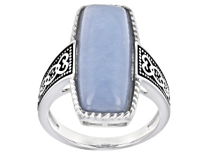 Pre-Owned Blue Angelite Rhodium Over Sterling Silver Solitaire Ring