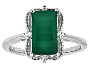 Pre-Owned Green Onyx Rhodium Over Sterling Silver Ring 2.78ctw