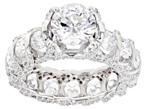 Pre-Owned White Cubic Zirconia Rhodium Over Sterling Silver Ring 11.41ctw