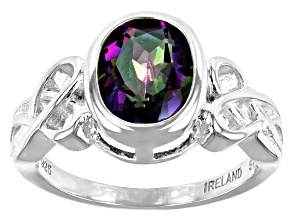 Pre-Owned Quartz Sterling Silver Celtic Ring 2.50ct
