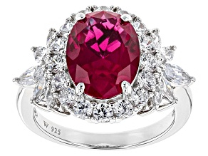 Pre-Owned Lab Created Ruby And White Cubic Zirconia Rhodium Over Sterling Ring 6.75ctw