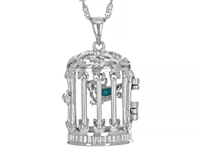 Pre-Owned Turquoise Rhodium Over Sterling Silver Bird Cage Prayer Box Pendant With Chain
