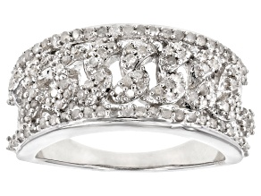 Pre-Owned White Diamond Rhodium over Sterling Silver Ring .57ctw