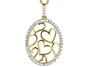 """Pre-Owned White Diamond 14K Yellow Gold Over Sterling Silver Pendant With 18"""" Rope Chain 0.25ctw"""