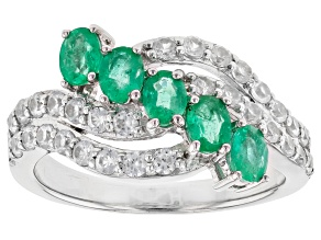 Pre-Owned Colombian Emerald Rhodium Over Silver Ring  1.59ctw