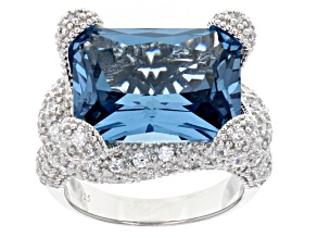 Pre-Owned Lab Created Blue Spinel & White Cubic Zirconia Rhodium Over Silver Ring 22.18ctw (16.23ctw