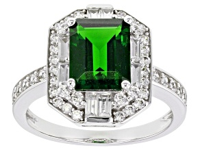 Pre-Owned Green Russian Chrome Diopside Rhodium Over 10k White Gold Ring 2.90ctw