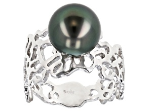 Pre-Owned Cultured Tahitian 8-9mm Off-Round Pearl Rhodium Over Sterling Silver Ring
