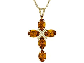 Pre-Owned Orange Madeira Citrine 10k Yellow Gold Pendant With Chain 2.04ctw