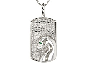 Pre-Owned White Cubic Zirconia And Green Nanocrystal Rhodium Over Sterling Silver Pendant With Chain