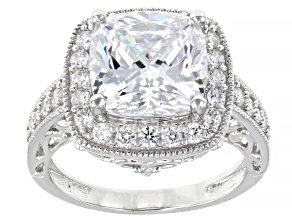 Pre-Owned White Cubic Zirconia Rhodium Over Sterling Silver Ring 8.49ctw (4.45ctw DEW)