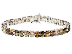 Pre-Owned Multi-Color Tourmaline Rhodium Over Silver Bracelet 14.59ctw
