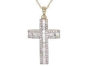 Pre-Owned White Diamond 10k Yellow Gold Pendant .55ctw