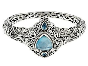 Pre-Owned Paraiba Color Quartz Triplet Silver Bracelet .88ctw