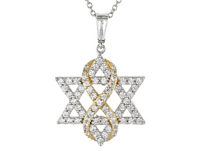 Pre-Owned White Cubic Zirconia Rhodium & 18k Yellow Gold Over Sterling Silver Pendant 2.62ctw