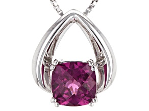 Pre-Owned Purple Rhodolite Sterling Silver Solitaire Pendant With Chain 1.50ct