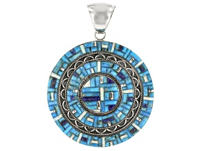 Pre-Owned Inlaid Turquoise, Lapis Lazuli, And Lab Created Opal Silver Pendant