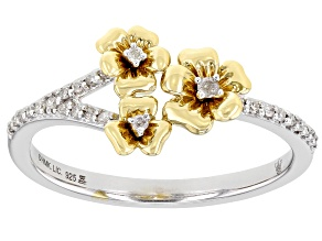 Pre-Owned White Diamond Rhodium And 14k Yellow Gold Over Sterling Silver Triple Pansy Ring 0.10ctw